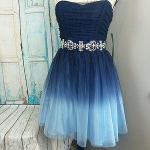 Camille La Vie Blue Ombre Strapless Dress